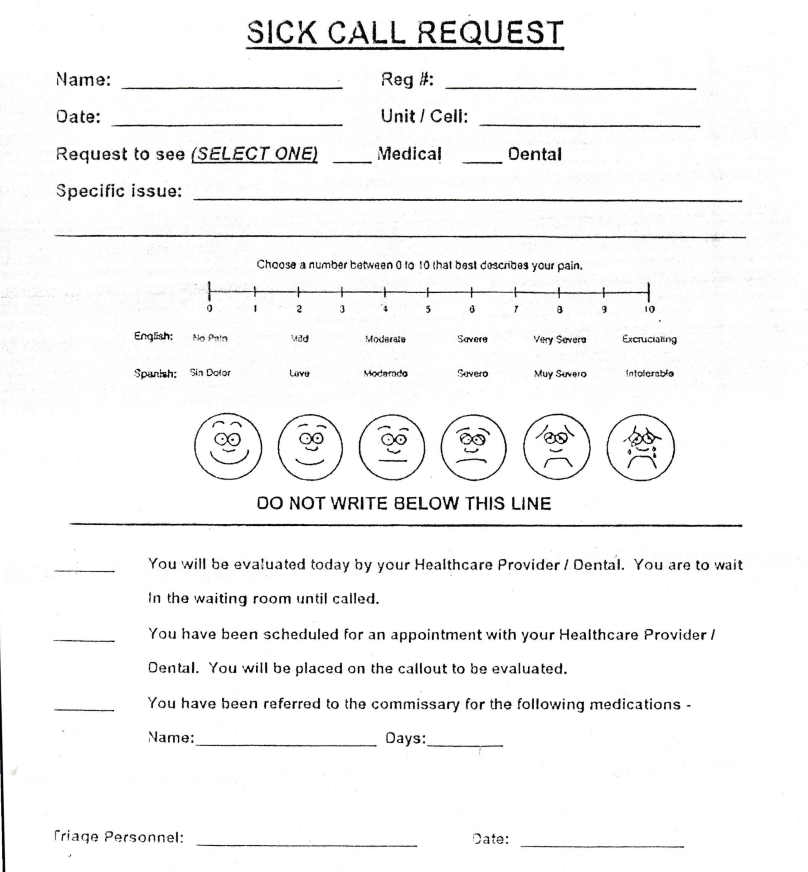 BOP Sick Call Request Form