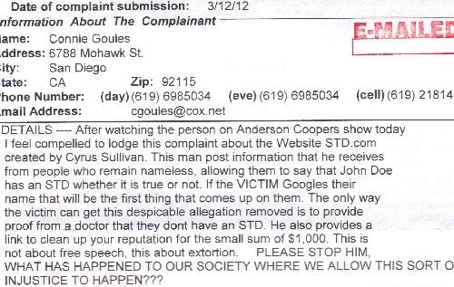 Connie Goules ODOJ Complaint