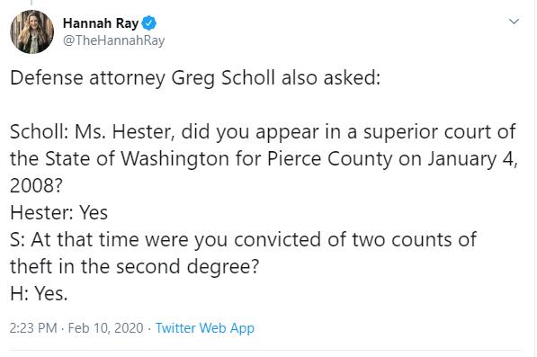 Hannah Ray Lambert's Hester Tweet