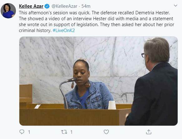Demetria Hester Admits Criminal History