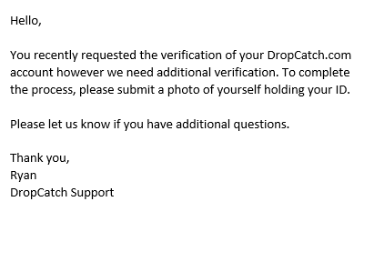 DropCatch Requesting Selfie with ID