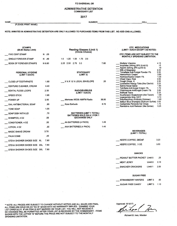 FCI Sheridan SHU Commissary Sheet