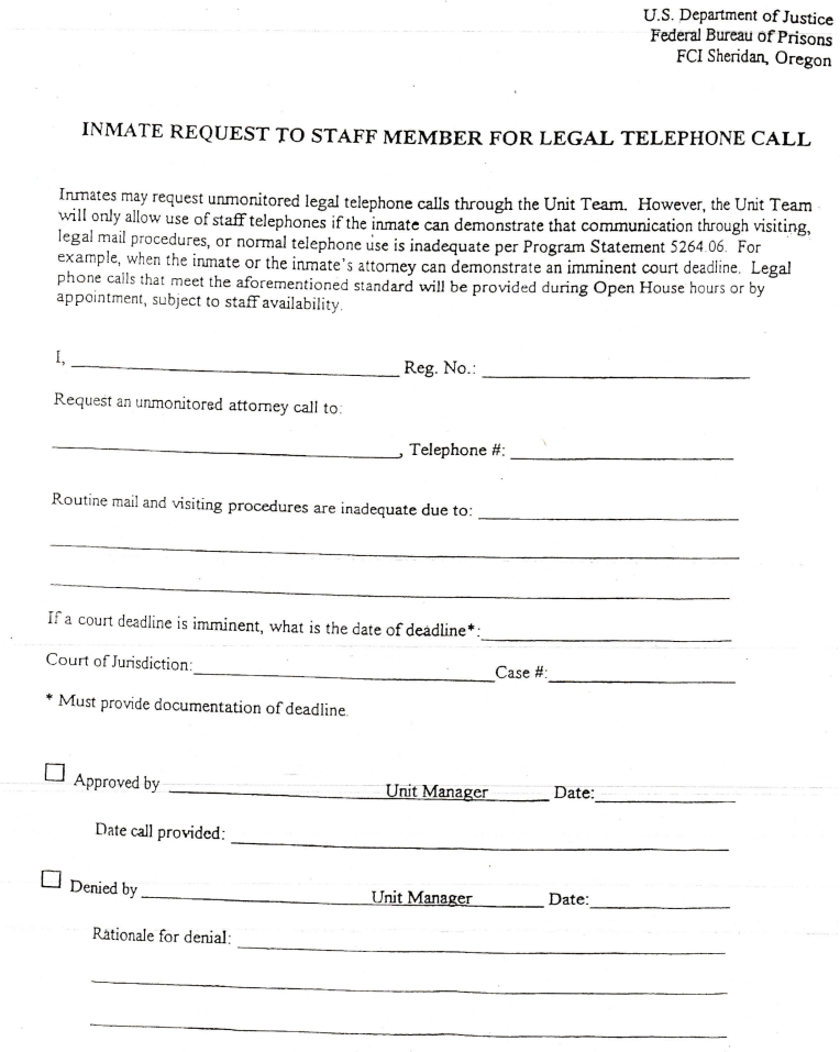 Inmate Legal Call Request Form