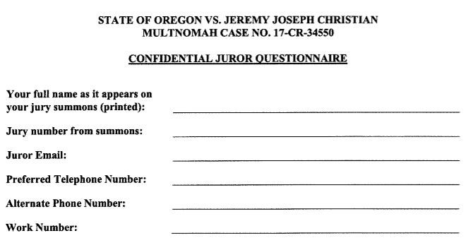Jeremy Christian Potential Juror Quiz