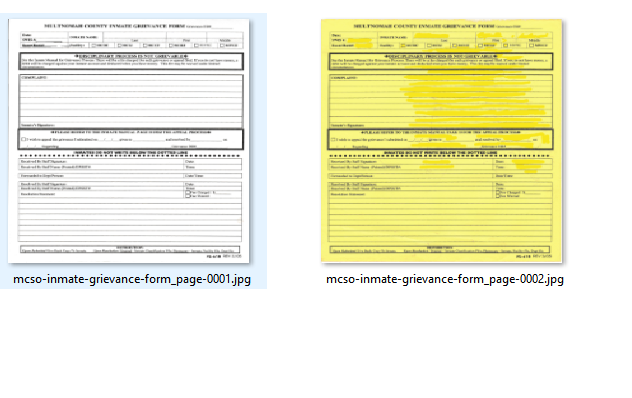 Multnomah County Inmate Grievance Form