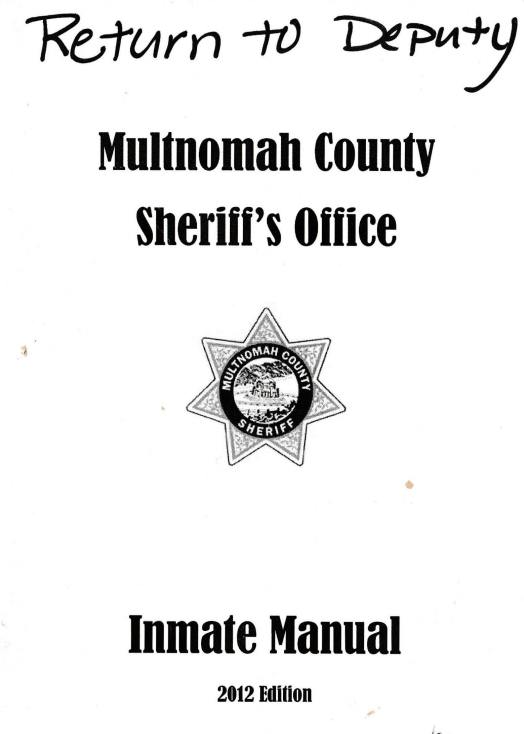Multnomah County Inmate Manual