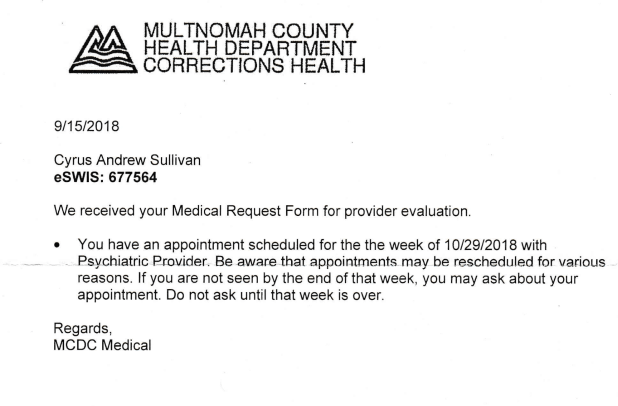 Notice From Medical at Multco Jail
