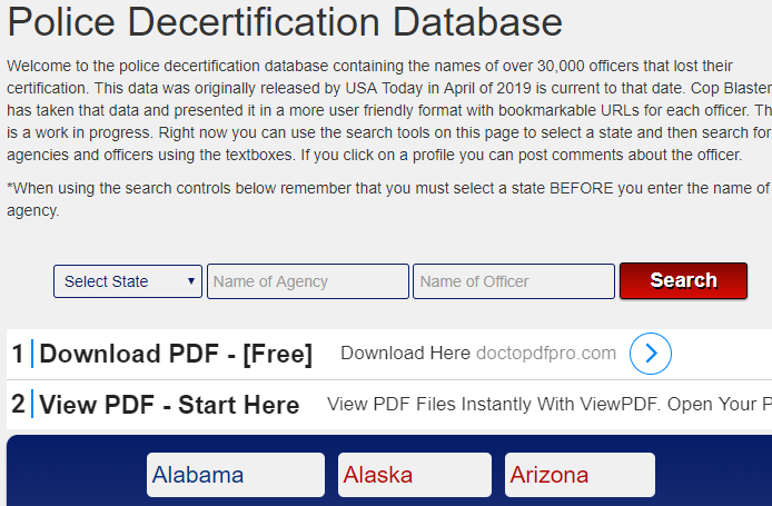 Police Decertification Database